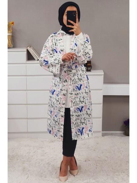 Text Printed Kimono -White