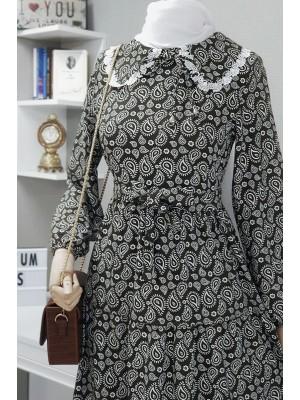 Baby collar linen dress -Black