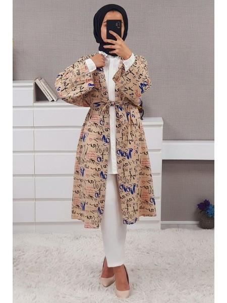 Text Printed Kimono -Mink color