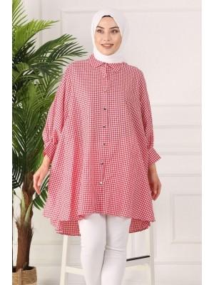 Checked poncho shirt -Red
