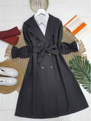 Shawl Collar Trench Coat With Sleeves Pleated Belt -Black