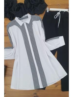 Checkered Poncho Shirt -White