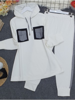 Hooded, Reflective Double Pocket Combed Combed Set -White
