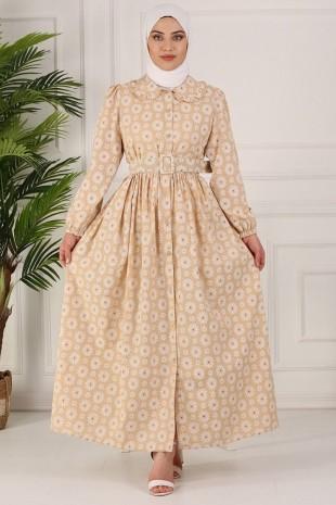 Boydan Düğmeli Kemerli Elbise -Açık Vizon