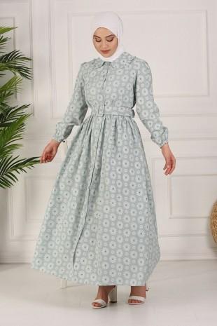Boydan Düğmeli Kemerli Elbise -Mint