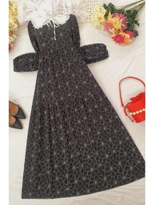 Baby Collar Long Dress -Black