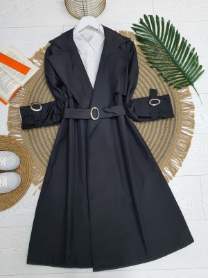 Shawl Collar Trench Coat With Buckle Sleeves and Belt -Black