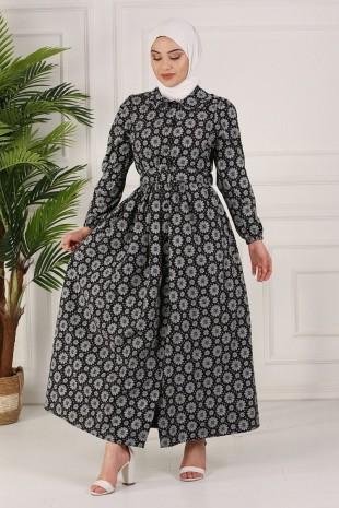 Boydan Düğmeli Kemerli Elbise -Siyah