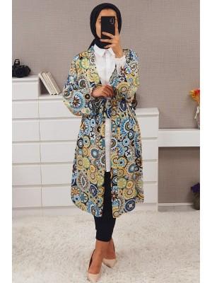 Geometric Patterned Kimono -Blue