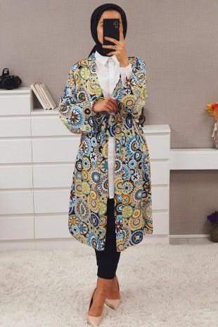 Geometrik Desen Kimono -Mavi