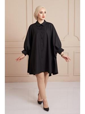 Plain Poncho Shirt -Black