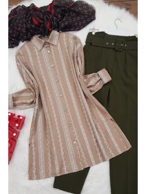 Slit Shirt -Mink color