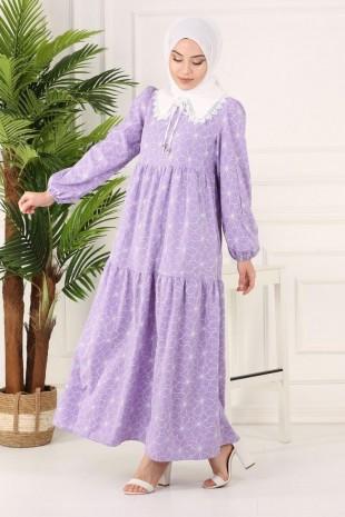 Bebe Yaka Parçalı Uzun Elbise -Lila