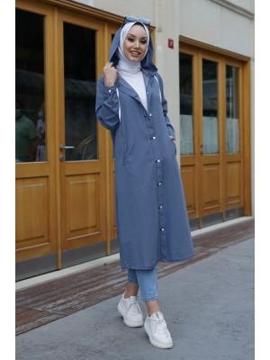 Buttoned Hooded Denim Cap -Blue