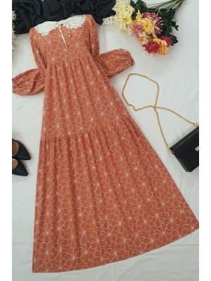 Baby Collar Long Dress -Dried rose