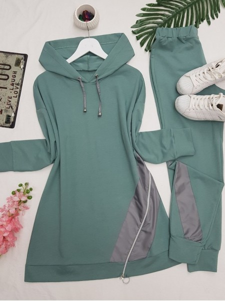 Hooded Side Zipper Detailed Combed Cotton Set -Mint Color