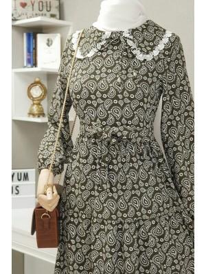 Baby collar linen dress -Khaki