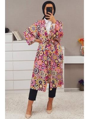 Geometric Patterned Kimono -Fuchsia