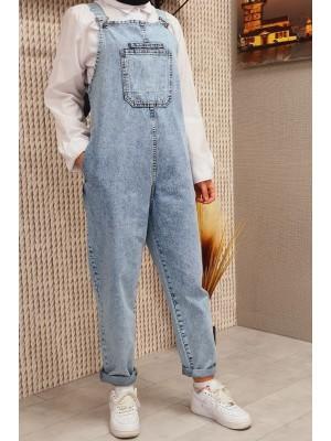 Front Pocket Jeans Jumpsuit -Ice Blue