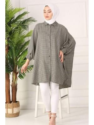 Checked poncho shirt - Beige