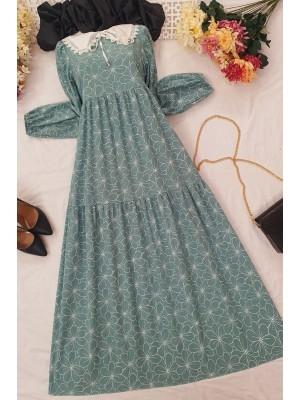 Baby Collar Long Dress -Mint Color