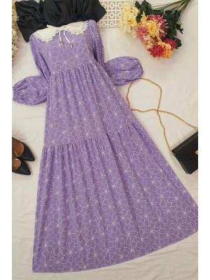 Baby Collar Long Dress -Lilac