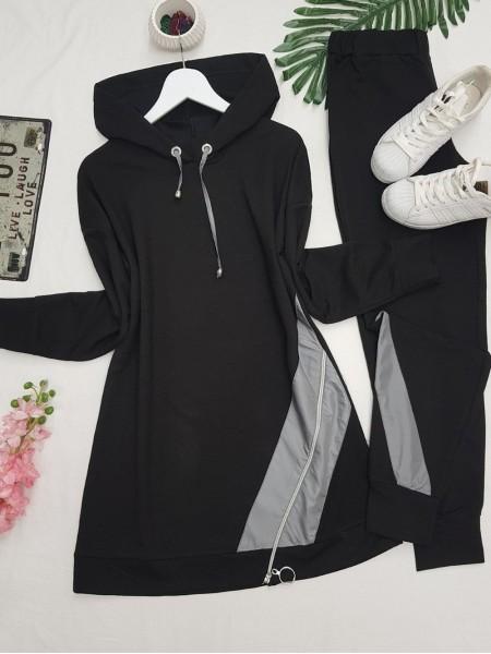 Hooded Side Zipper Detailed Combed Cotton Set -Black