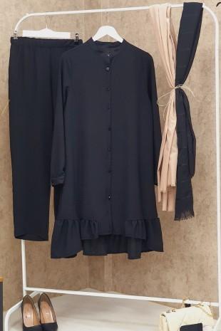 Eteği Fırfırlı Ayrobin Takım -Siyah