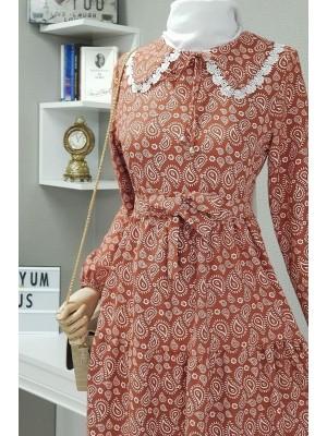 Baby collar linen dress -Brick color