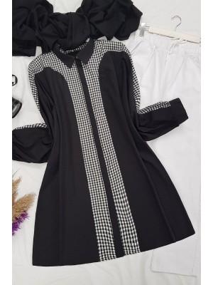 Checkered Poncho Shirt -Black