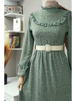 Çiçek Desenli Şifon Elbise -Green