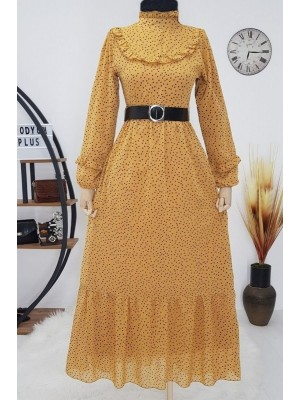 Polka Dot Chiffon Dress -Mustard
