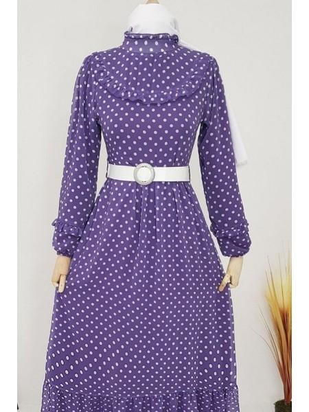 Puantiyeli Şifon Elbise -Lilac