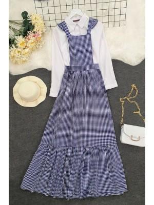 Gardener Long Dress -Navy blue