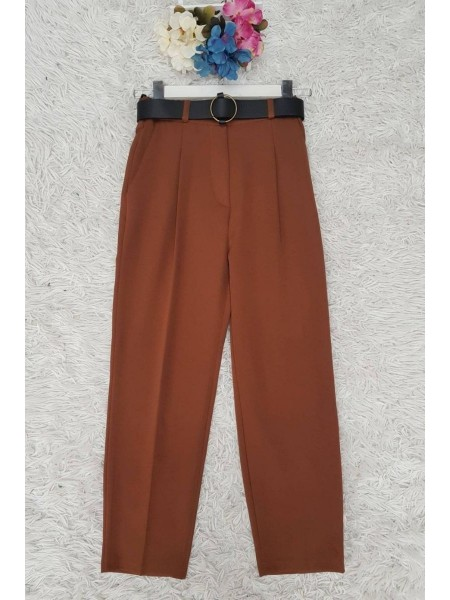 Belted Pleated Trousers -Brick color