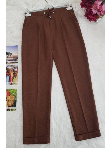 Belted Carrot Pants -Brown