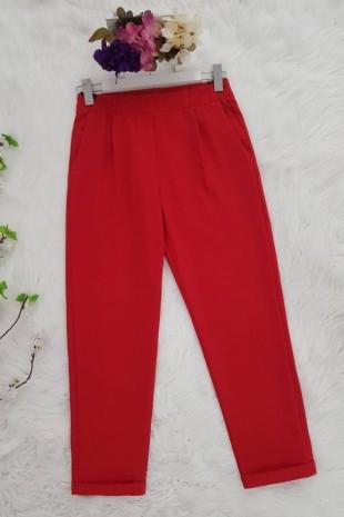 Beli Lastikli Pantolon     -Kırmızı