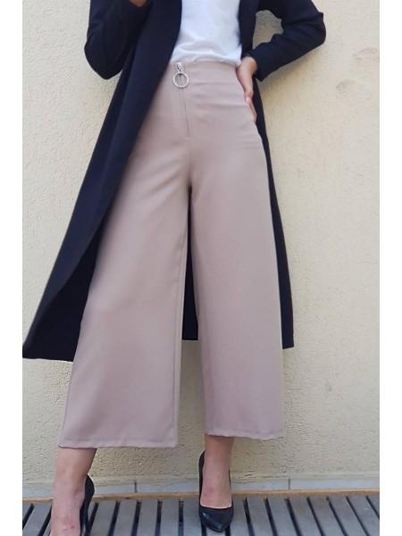 Front Zipper Plenty Trousers   -Mink color