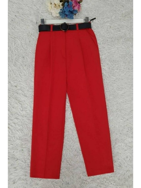 Belted Pleated Trousers -Red
