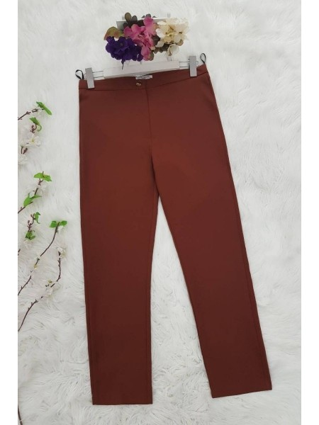 Lycra Double Fabric Trousers     -Snuff