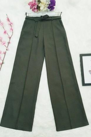 Belden Bağlamalı Pantolon    -Haki