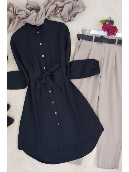 Lace-Up Waist Tunic -Black