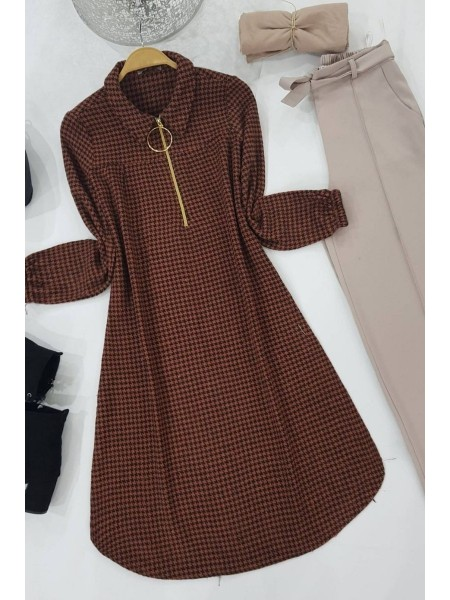 Ring Detailed Stamp Tunic -Brick color