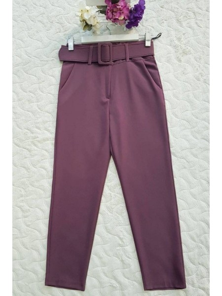 Thick Belt High Waist Trousers  -Dried rose
