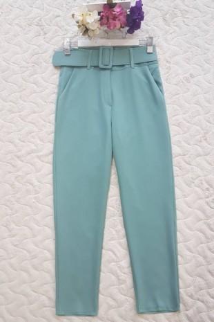 Kalın Kemerli Yüksel Bel Pantolon -Mint