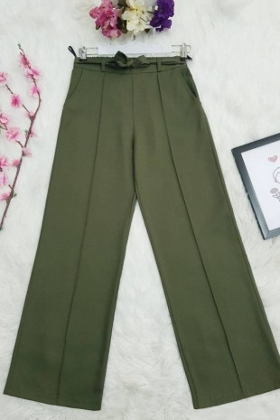 Belden Bağlamalı Lastikli Pantalon     -Haki