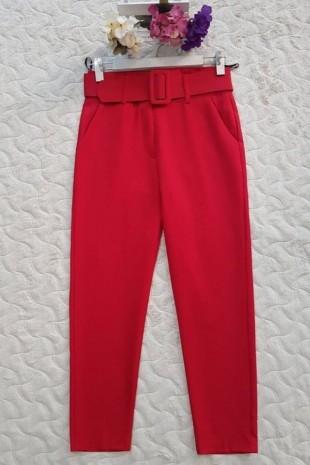 Kalın Kemerli Yüksel Bel Pantolon -Kırmızı