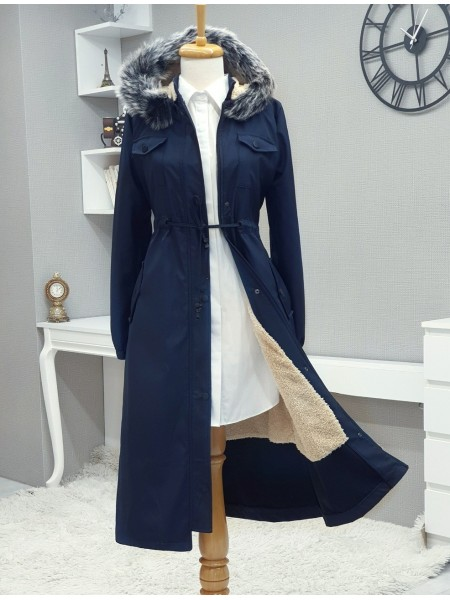 Fur Hooded Tunnel Lace Long Coat  -Navy blue