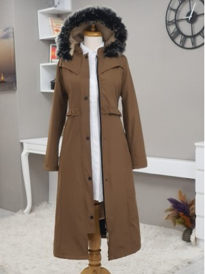 Fur Hooded Zipper Snap Fastener Long Coat -Snuff