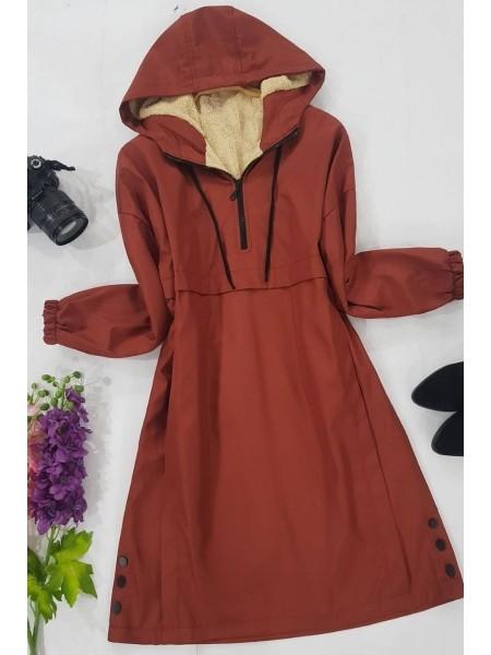 Plush Coat Tunic -Brick color